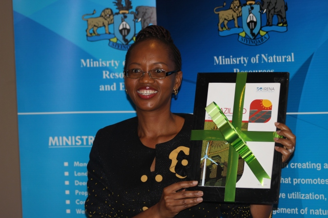 RRA report for Swaziland handed over to H. E. Jabulile Mashwama, Minister of Natural Resources and Energy, Swaziland