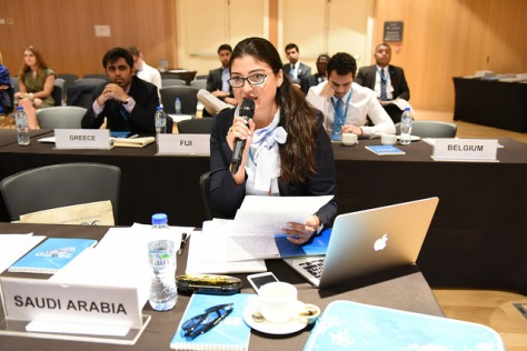 Model IRENA delegates take a vote.