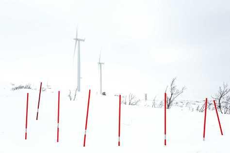Wind turbines stand defiantly in the far North Norwegian village of Bjørnfjell, Narvik. Doran Talmi