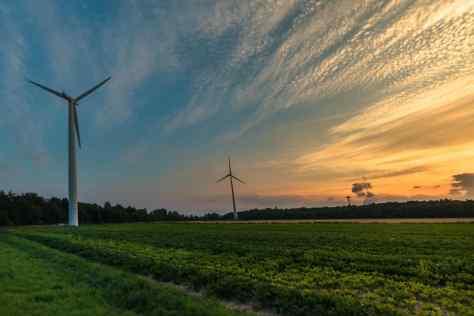 Wind turbines generating electricity in a field near Düsseldorf, Germany.